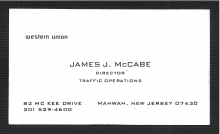 James J. McCabe - Business Card - 1971